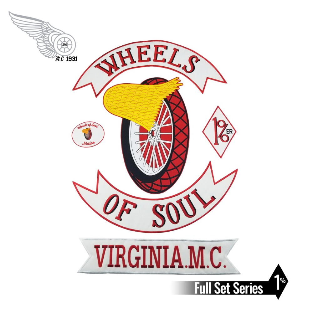 WHEELS OF SOUL 1% Motorcycle Biker Embroidered Patch Iron On Jacket Vest Rider Full Back Large Size 6pcs A Set Custom