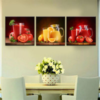 3 Piece Art Picture Modern Picture Painting Home Decor Perfect Wall Decor Fruit And Vegetable Juice