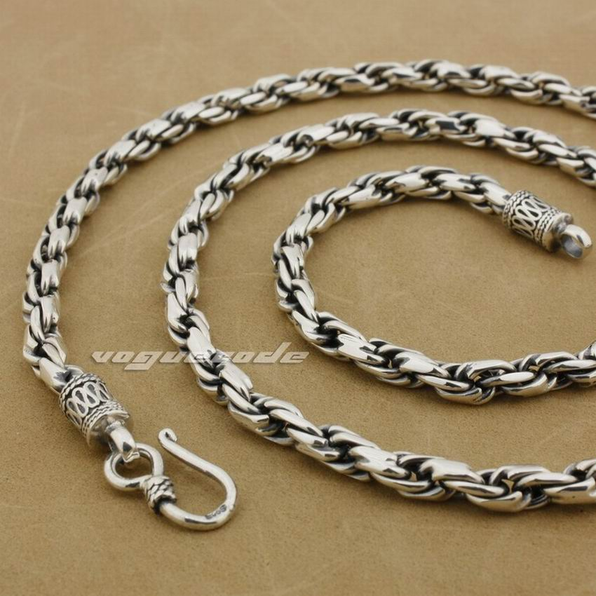 5mm 925 Sterling Silver Woven Double Link Chain Mens BIker Rocker Punk Necklace 8L001 solid silver 925 bold link chain necklace for mens 5mm thick chunky necklace simple style 100