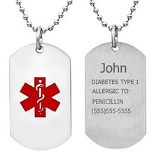 Free Engraving Unisex Stainless steel Diabetes type 1 Medical Alert ID Necklace Personalized Dog Tags Pendant Jewelry Men,Women