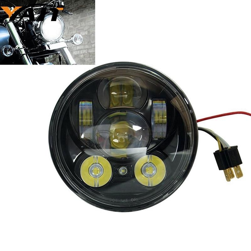 5-3/4 5.75 phare LED pour 883, sportster, triple, low rider, phare de moto de glisse large