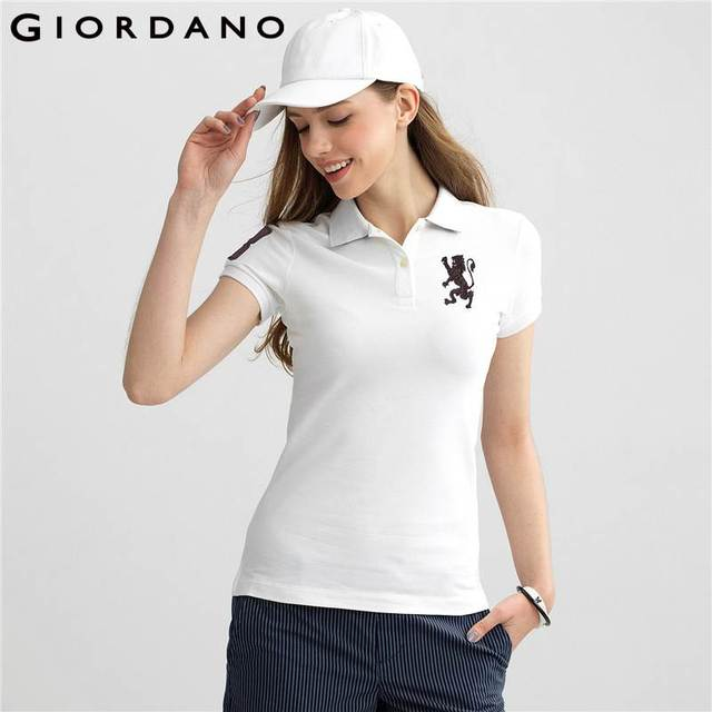 Giordano Women Polo Shirt Lion 3D Embroidery Short Sleeves Polo Flat Collar  Stretchy Brand Clothes Cotton Polo Shirt ca1b9cc4d