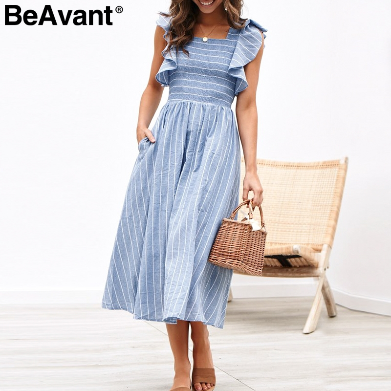 BeAvant Striped Pleated Long Summer Dresses Women Elegant Ruffle Sleeve Pinafore Blue Dress Casual Pockets Linen Dress Vestidos