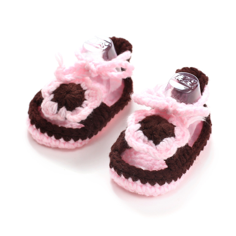 The New Hand-knit Wool Newborn Baby Soft Bottom Toddler Shoes(1-18 months)