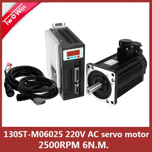 220V 1.5KW 130ST-M06025  AC Servo motor 1500W 2500RPM 6N.M ac drive permanent magnet Matched Driver