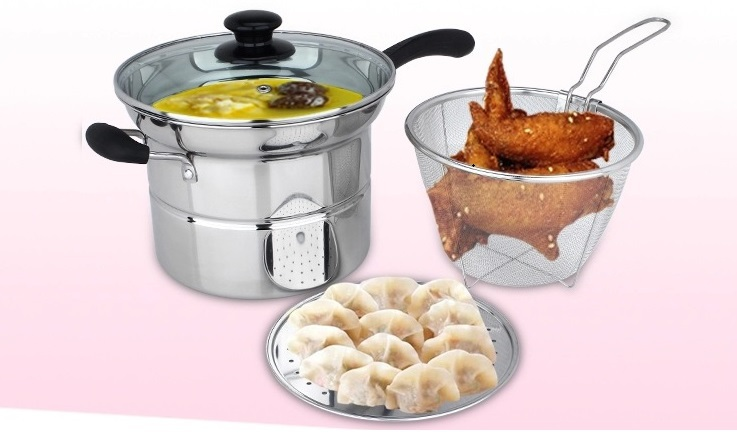 Fryer Pan With Steamer, Flat Bottom Pot, Mini Frying Wok, Fire Gas Electric Cooker, Stainless Steel, Glass Cover Free Shipping