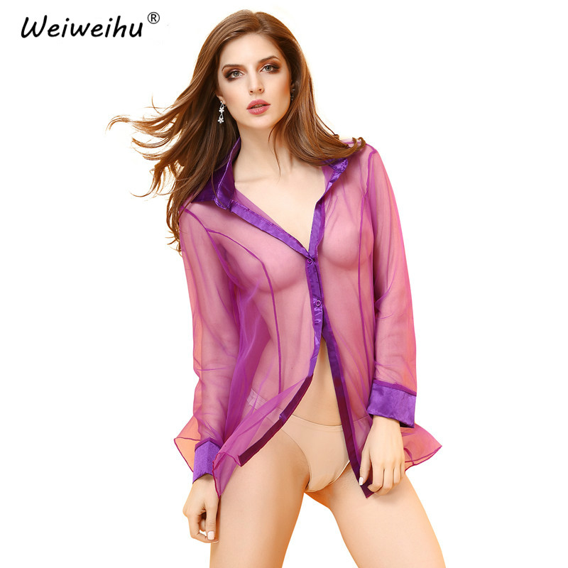 Kuper Cherry Women Sexy Lingerie Baby Dolls Solid Color Underwear Chiffon Transparent Shirt Erotic Costumes Sexy