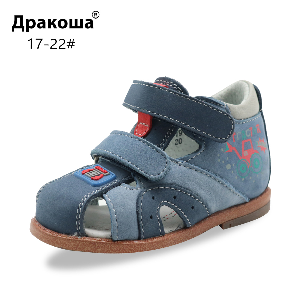 Apakowa Toddler Baby Boys Summer Leather Closed Toe Sandals Kids Sports Sandal Hot Weather Beach Walking Shoes With Arch Support