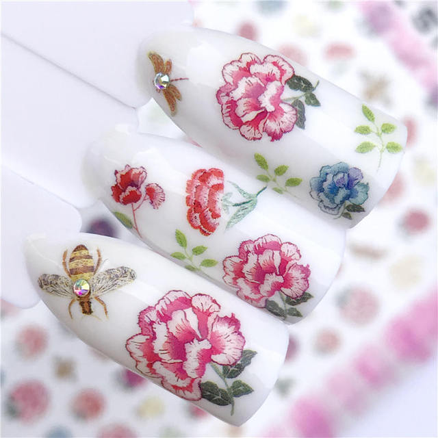 WUF 1 Sheet  3D Nail Stickers Decals Bright Red Flowers / Bees Adhesive Manicure Stickers Charm Nail Art Decoration