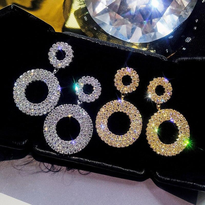 Lubov Mode Koreanischen Stil Große Runde Hoop Ohrringe Luxus Gold Silber Farbe Strass Ohrring Frauen Partei Schmuck Geschenk MöChten Sie Einheimische Chinesische Produkte Kaufen?