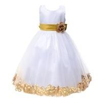 Elegant Baby Girls Birthday Gift White Flower Party Dress Cute Bow Infant Princess Kids Wedding Dress