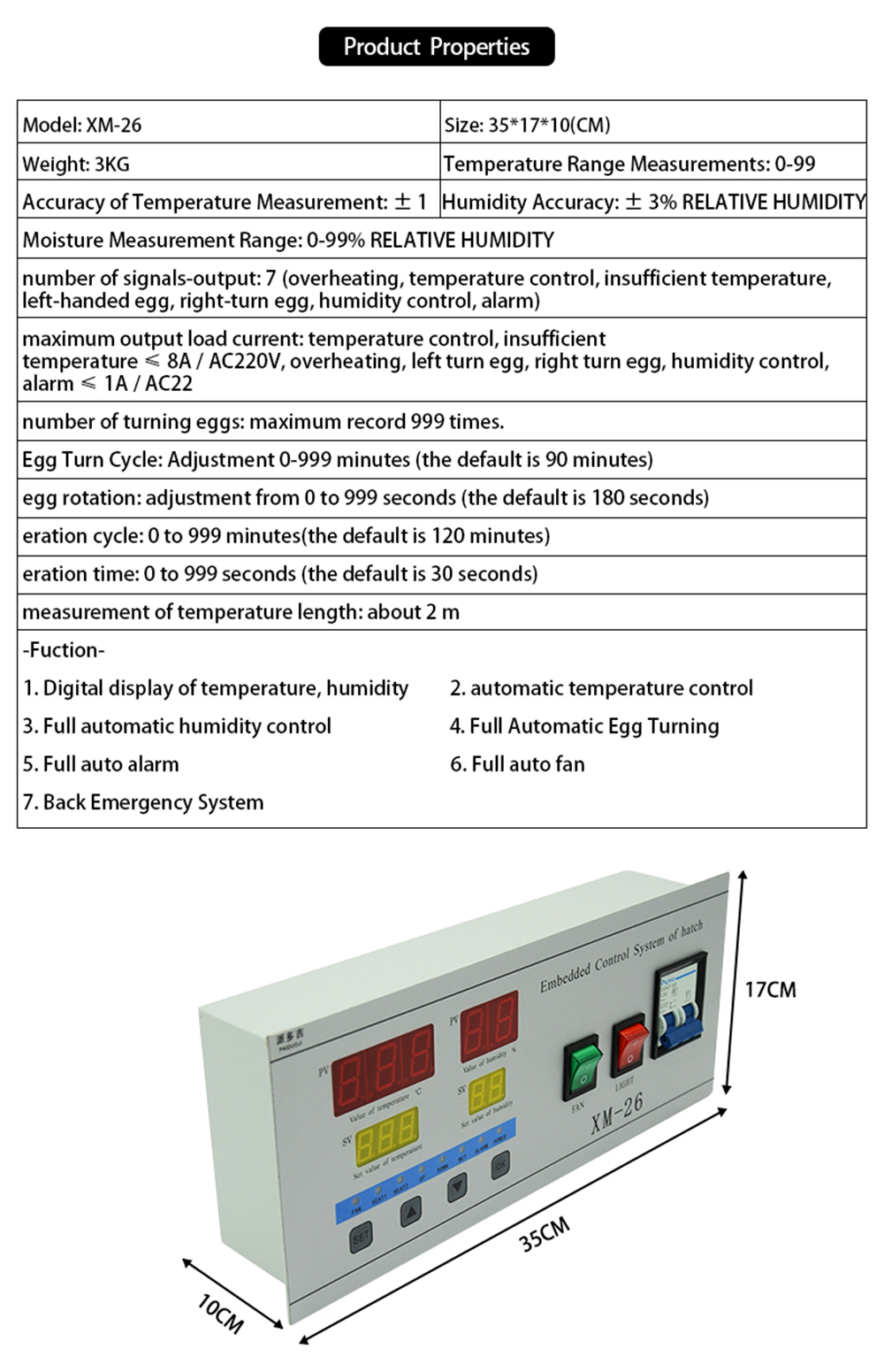 New Incubator Spare Parts Automatic Control System Controller Xm 26 Auto Fan For Temperature Connection Diagram 1000 01