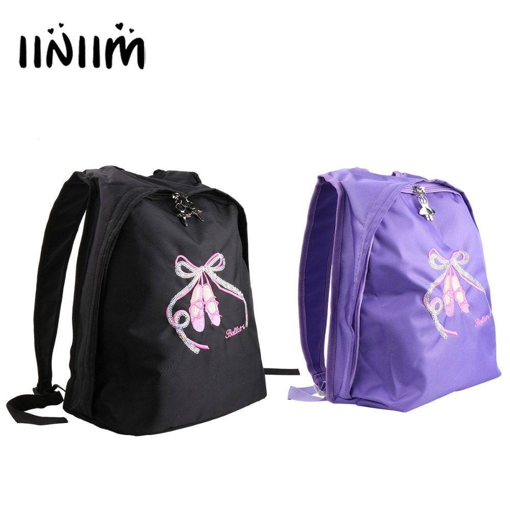 iiniim Girls Ballet School Ballerina Bag Glitter Bowknot with Ballet Letter Gym Backpack Toe Shoes Embroidered Shoulder Bag