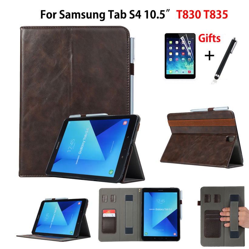 Case For Samsung Galaxy Tab S4 10.5 T830 T835 SM-T830 SM-T835 10.5 Smart Cover Funda Tablet Hand Strap Shell +Film+Stylus
