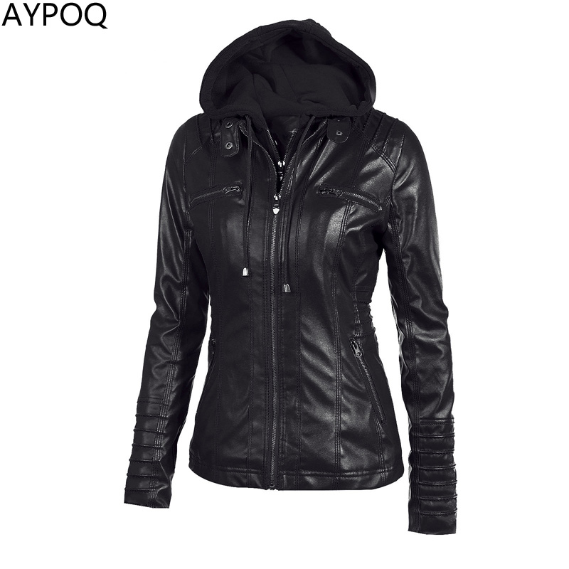 AYPOQ XS-7XL Lady Leather Jacket Women Hoodies Tops Zipper Long Sleeve Casual Spring Autumn Black Faux Short Coat Female Outwear