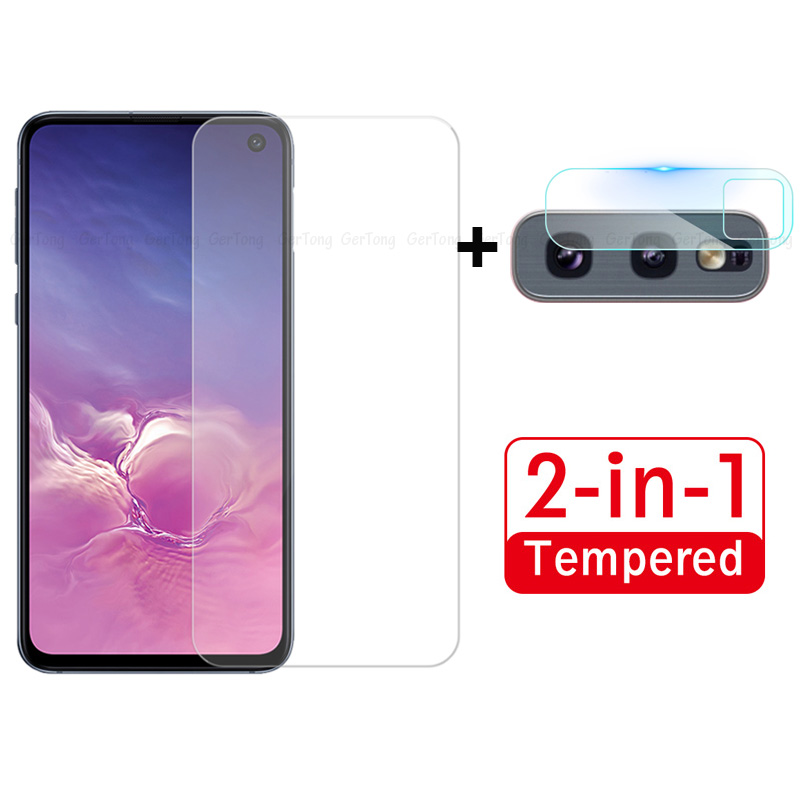 2 in 1 <font><b>Camera</b></font> Lens Ultra Slim For <font><b>Samsung</b></font> Galaxy S10e Screen Protector For A50 A30 A70 A60 A20 s 10e Protective <font><b>Glass</b></font> Phone Film image