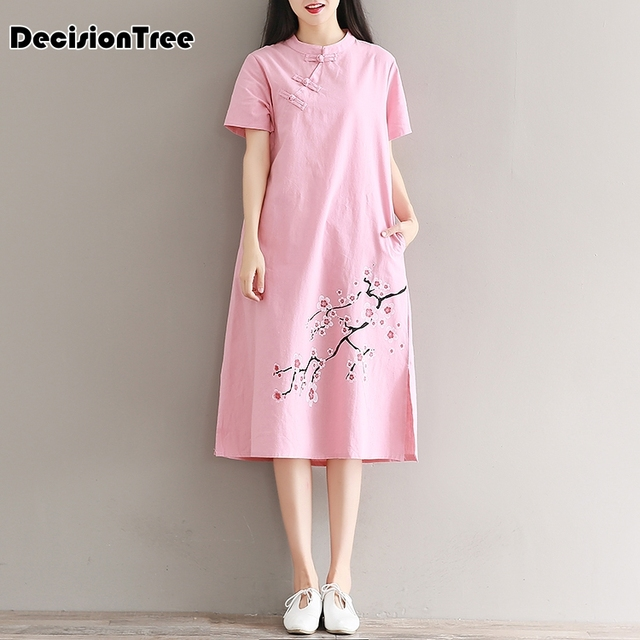 2019 summer chinese traditional dress women qipao Blossom Flower Embroidery dress qipao Linen-Silk Vestidos Cheongsam Qipao