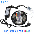 X50 DHL  RGB 5M 300 Leds SMD5050 Led Strip light Waterproof lighting 44 Keys IR Remote Controller + 12V 5A Power Supply + Pulg
