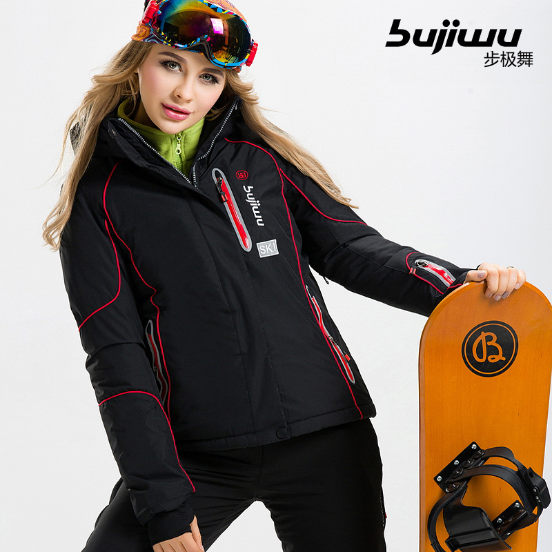 Prix pour 2017 authentique veste de ski, vêtements de ski en plein air, unique et double bord étanche coupe-vent, épaississement pour garder au chaud veste