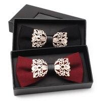 2017 Nouveautés de Haute Qualité Arc Cravate pour les Hommes Partie De Mariage Papillon Cravate De Mode En Métal Couronne Bowtie avec Strass