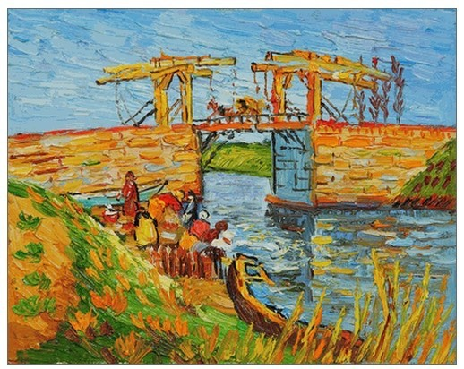 Handpainted Landscape Oil Painting for Living Room Wall Langlois Bridge at Arles with Women Washing by Vincent Van Gogh PaintingHandpainted Landscape Oil Painting for Living Room Wall Langlois Bridge at Arles with Women Washing by Vincent Van Gogh Painting