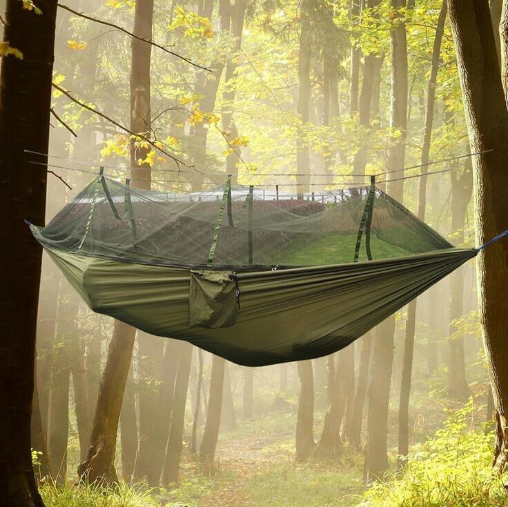 Hamaca Jungla Militares Mosquito Net Acampa Tienda de la cama de viaje paracaídas colgando
