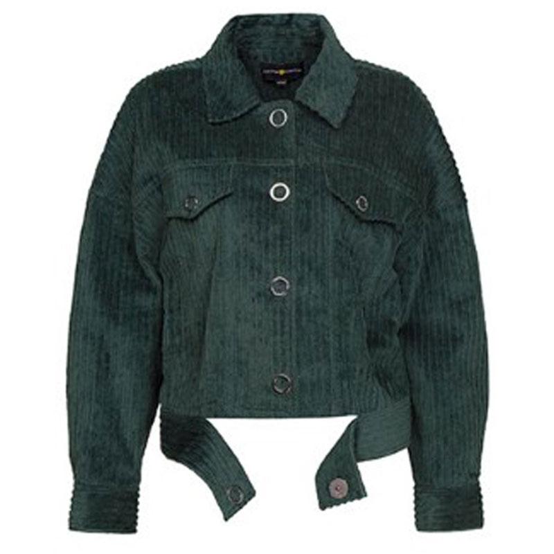 SAILING LU Spring Women Long Sleeve   Basic     Jacket   Vintage Corduroy   Jacket   Female Fashion Green Lace up Short Outerwear WWJ946