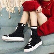 Kjstyrka botines mujer 2018 outono mulheres meias de inverno mid-calf botas de personalidade moda casual senhoras botas femininas de inverno