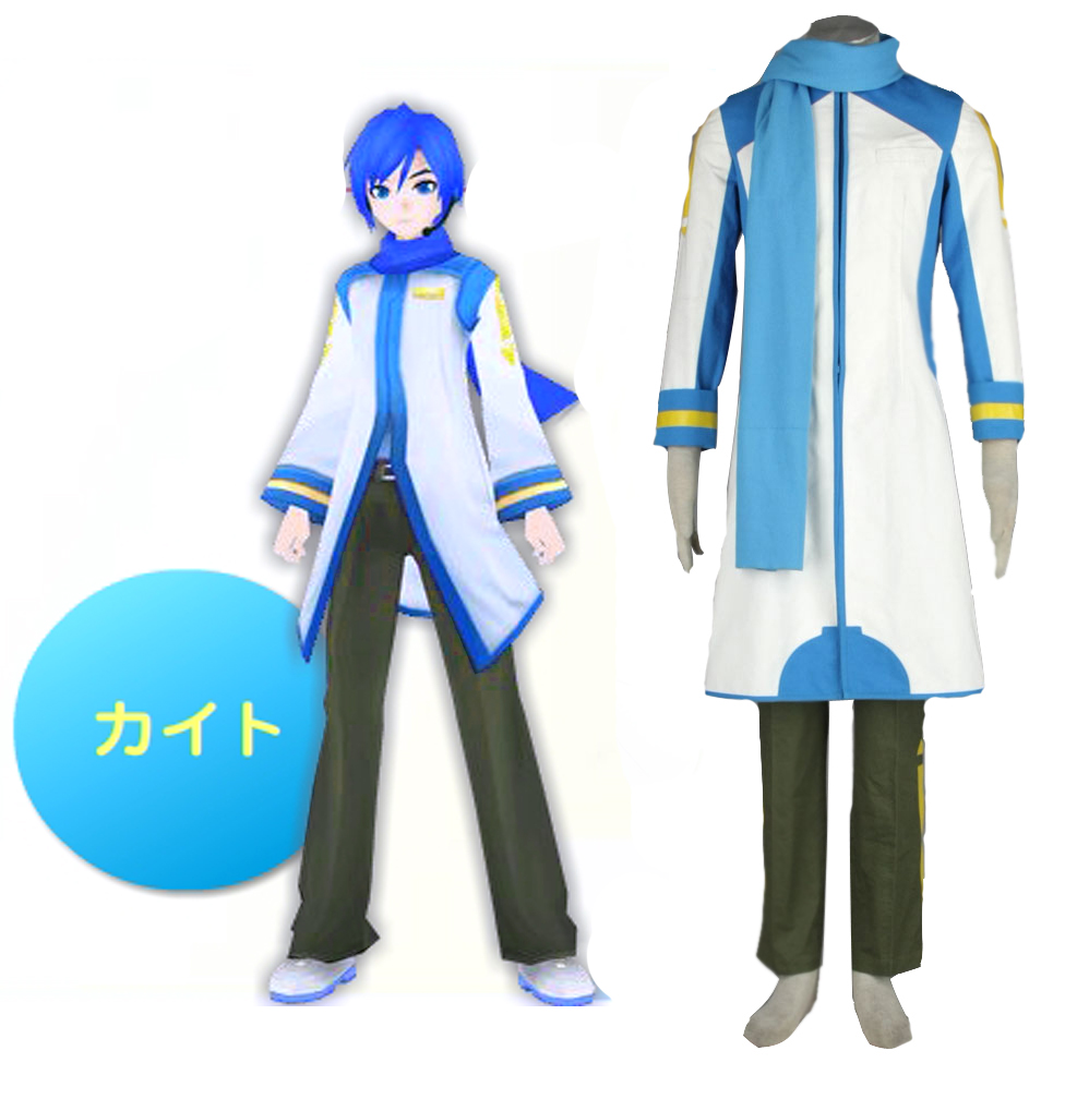 Free Shipping Vocaloid kaito Blue and White Coat Anime Cosplay Costumes