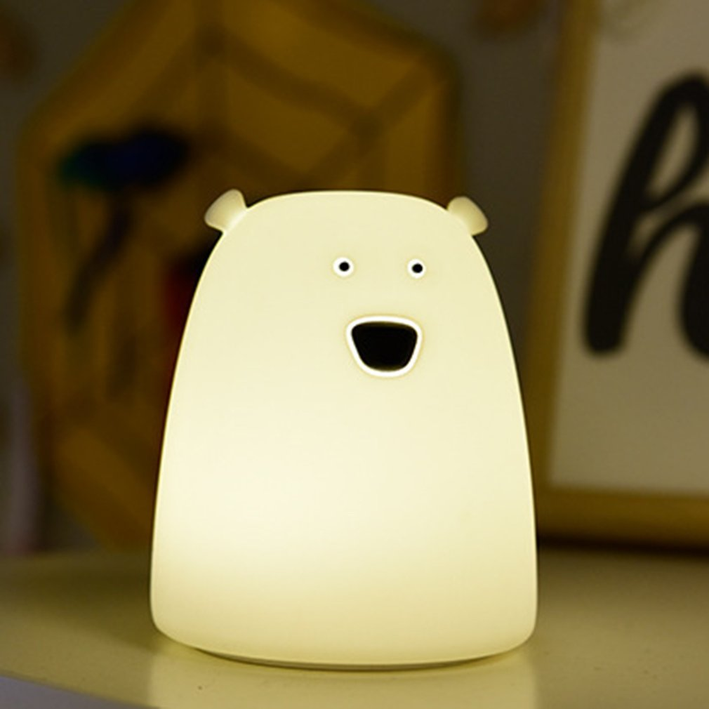 ICOCO LED USB Silicone Bear night light 7 Colors Changing Premium Bedside Light Child Cute Animal Cartoon Baby Nursery Gift