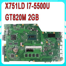 Original For ASUS X751LD X751L K751L K751LN REV:2.0 laptop motherboard USB3.0 DDR3 with I7-5500u with 4 video memory 100%tested