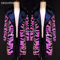Fashion Fur collar Jacket Costumes Fluorescence pink zebra Long Coat Nightclub bar male singer stage show outwear