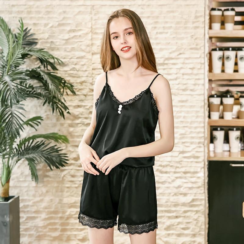 0e6cc05693 Luxury Spring Plain Silk Pajama Set 2 Piece Camisole Top+Shorts Cozy Girl  Loungewear Sleepwear Student Nightwear Pijama Feminino