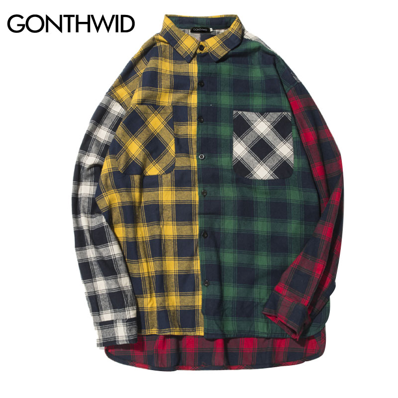 GONTHWID Color Block Patchwork Plaid Long Sleeve Shirts Men Hip Hop Casual Pocket Button Up Shirts Coats Fashion Streetwear