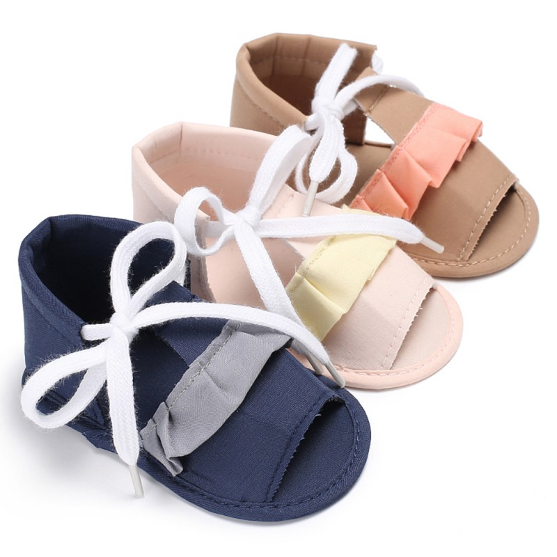 Cute Spring Summer Lace Up Sweat-absorbent Anti-slip Shoes Cotton Cloth Bandages Design Girl Walking Shoes