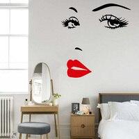 눈 입술 벽 스티커 소녀 여자 얼굴 메이크업 패션 벽 데칼 아름다운 레이디 벽 장식 이동식 침실 벽 스티커 663 메터