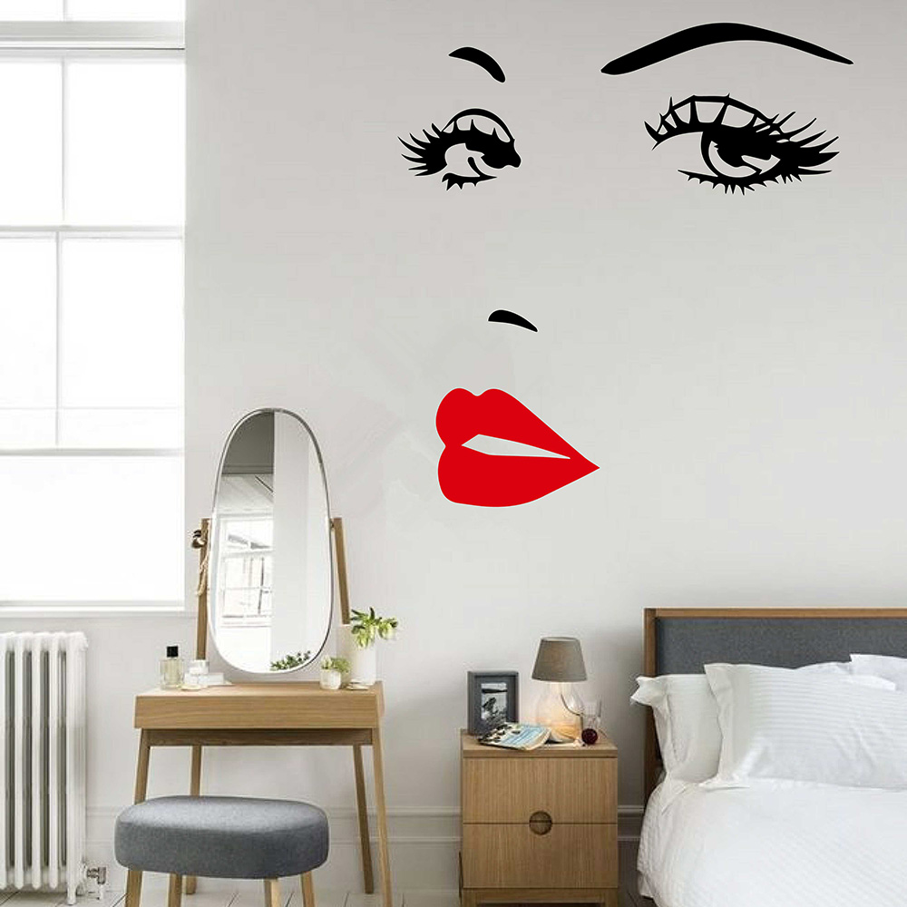 Eyes lips wall sticker girl woman face make up fashion - Vinilo para salon ...