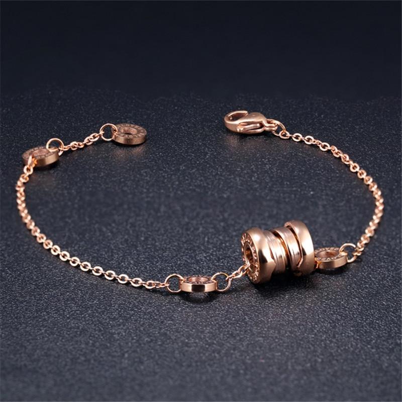 רסיס אלגנטי / צמיד זהב רוז ספרות רומיות צמיד שרשרת קישור צמידי מעגל עגול אביזרי תכשיטים לנשים