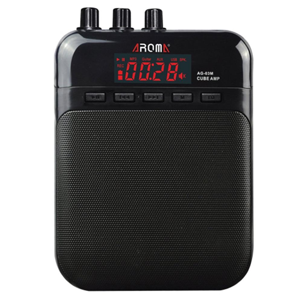 AROMA Mini Portable 5W Guitar Amp/Amplifier Recorder /Speaker with USB Cable to Recharge t050 3w mini portable retractable stereo speaker w tf black golden 16gb max