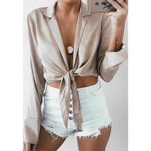 Women Sexy Blouse Backless Tie Knot Crop Top V-neck Long Sleeve Classics Party Shirts Ladies Hollow Out Slim tops 2019 недорого