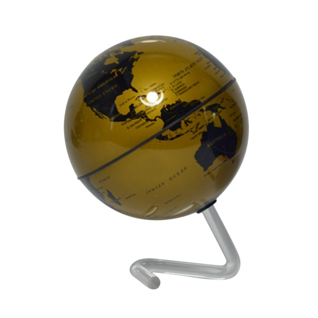 "4"" Gold Self-Rotating Geography World Tech Education Globe World Map Ornaments For Home Office Decor Craft Gift for Children"