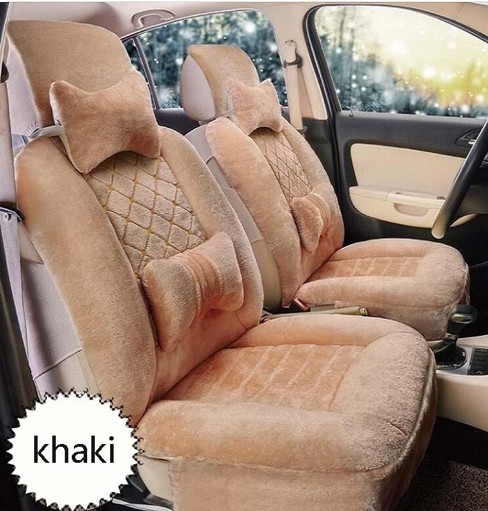 Auto Car Seat Cover full sets Universal Fit 5 seat SUV sedans front/back seat mats automotive short fur check design Wh