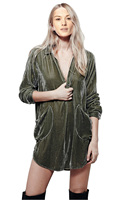 Velvet Women S Cocktail Party Micro Mini Shirt Dress Top Blouse Tunic Twin Pockets