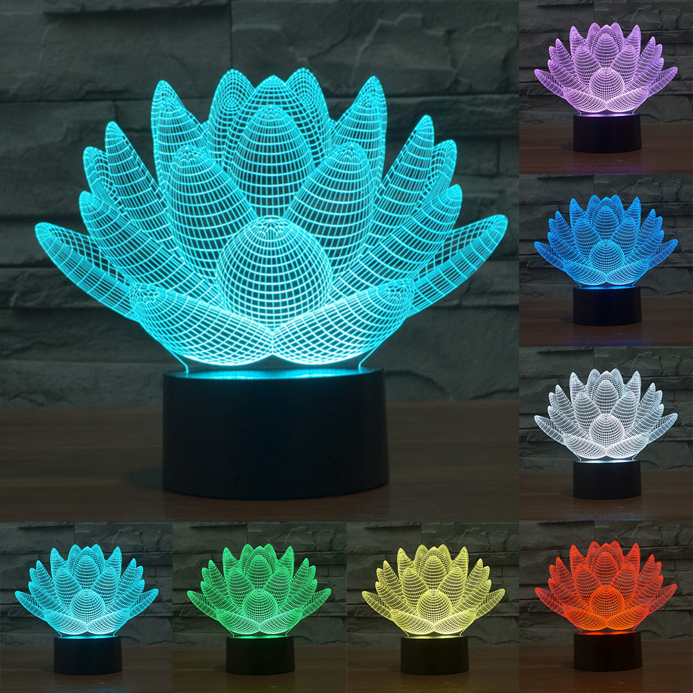 7 cambiare colore di Tocco di Loto 3D luce variopinta di notte strano stereoscopico illusione ottica lampada lampada LED della Decorazione Della luce IY803339