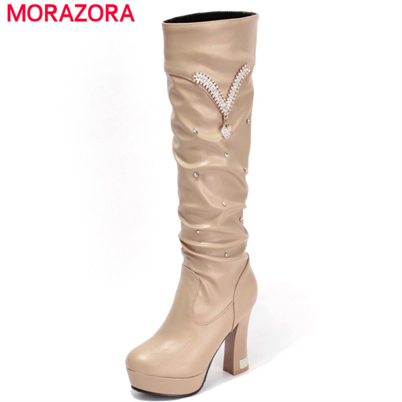 MORAZORA Mid calf boots spring autumn platform boots for women elegant fashion high heels boots solid pu large size shoes 34-43 spring autumn women thick high heel mid calf boots platform woman short boots high heels shoes botas plus size 34 40 41 42 43