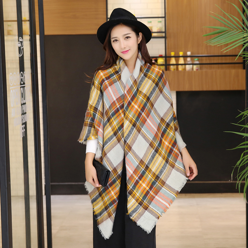 2016 font b Tartan b font Plaid Scarf Winter Pashmina Beige Women Cozy Checked Blanket Oversized