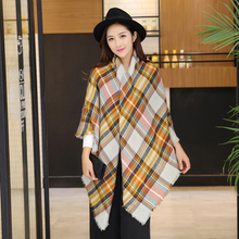 2016 Tartan Plaid Scarf Winter Pashmina Beige Women Cozy Checked Blanket Oversized Wrap Shawl Hijab Acrylic Plaid Blanket Scarf