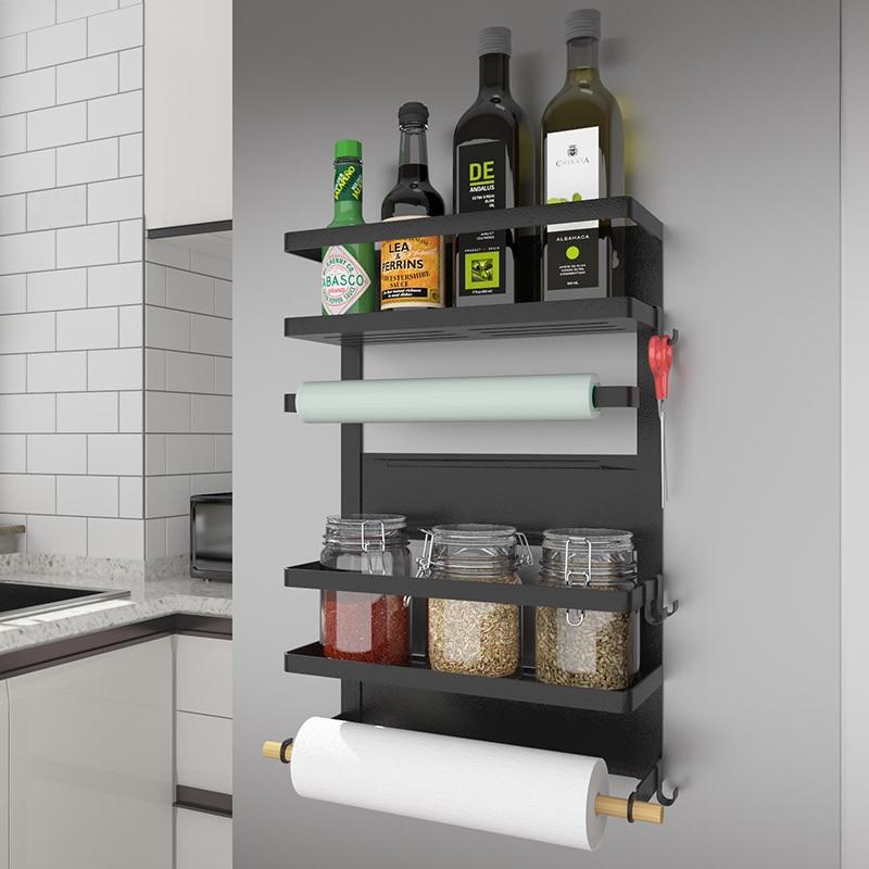 Кухня многофункциональный шкаф хранения Магнитная адсорбции для холодильник Side держатель полка многослойная Кухня Организатор