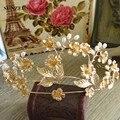Cor dourada Barroca Do Vintage Coroa De Noiva Flor Folhas Acessórios Banda Cabelo Capelli SQ056