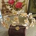Golden Color Vintage Baroque Bridal Crown Flower Leaves Hair Band Accessories Capelli SQ056